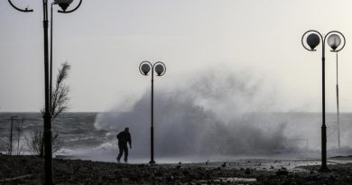 The winds reached 156 kmh (just under 100mph) on Saturday in parts of Greece